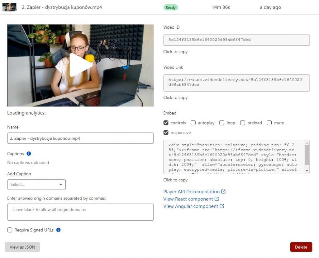 Video settings in CloudflareStream